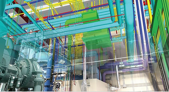 Mechanical room with 3D color-coded models overlayed on actual piping, ductwork, HVAC, and electrical equipment