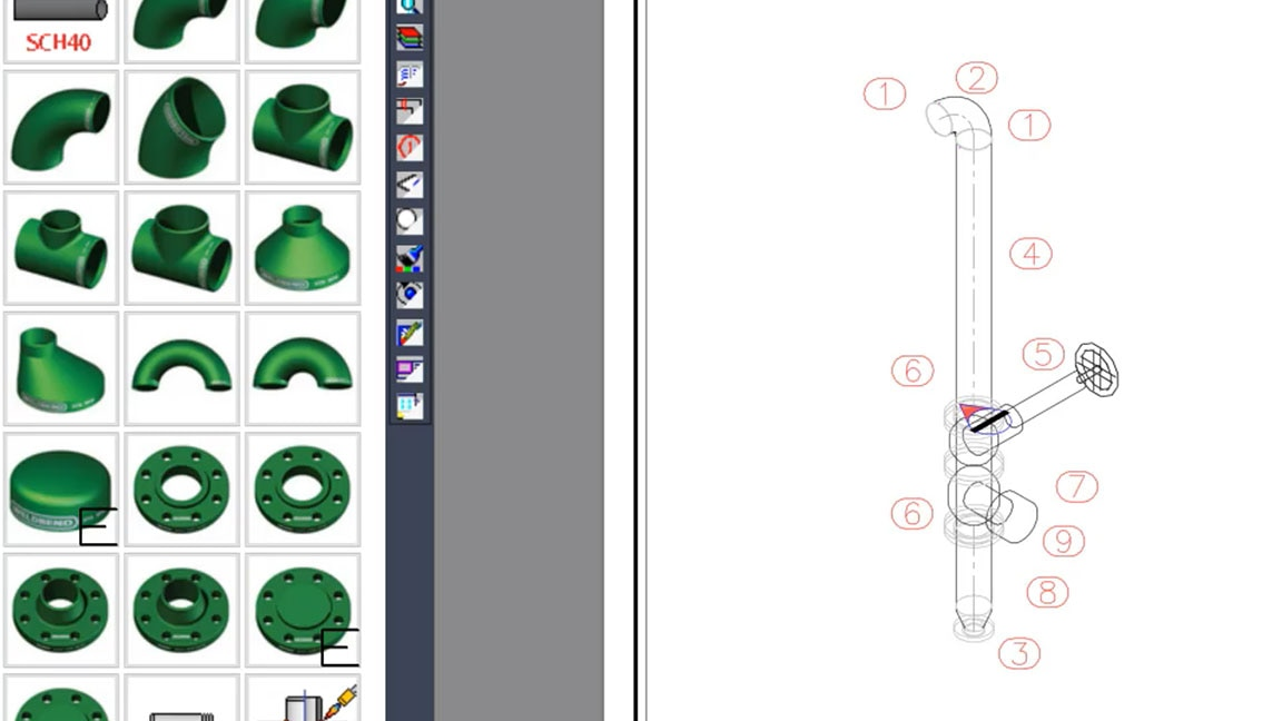 2D CAD spool sheet drawing shown in Fabrication software with a visual content library of MEP parts
