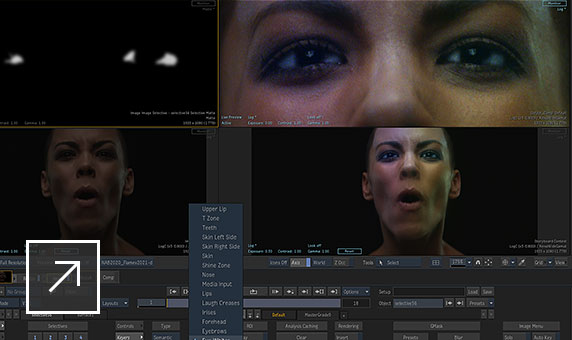 User interface in Flame showing 2 images of a woman's face and 2 images zoomed in on her eyes with Eye Whites selected in a menu