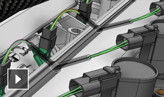 동영상: 전자 구성 요소의 3D 모형이 2D 도식도와 연결됩니다.