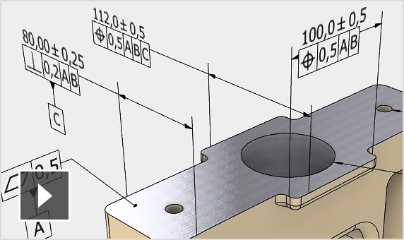 Video: Annotation tools in Inventor let you apply dimensions and tolerances onto 3D models so that they're fully defined