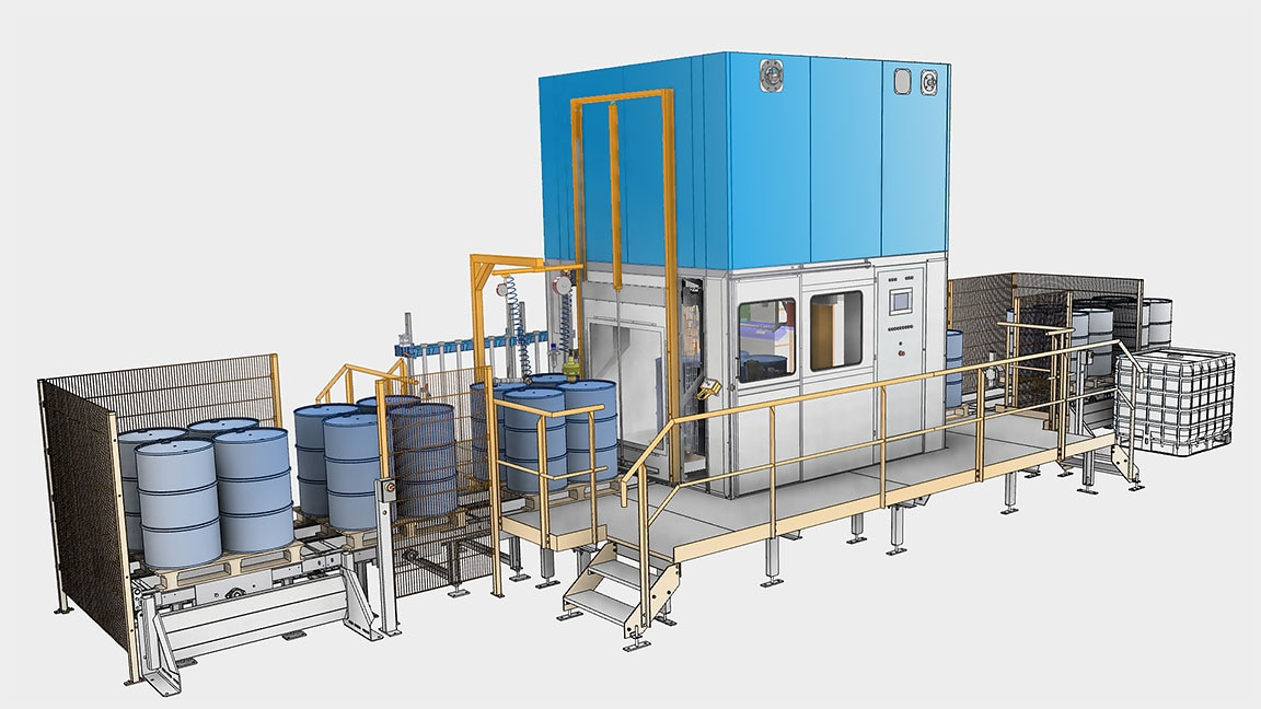 用于将物料(如液体或颗粒)填充到钢滚筒的工业机器