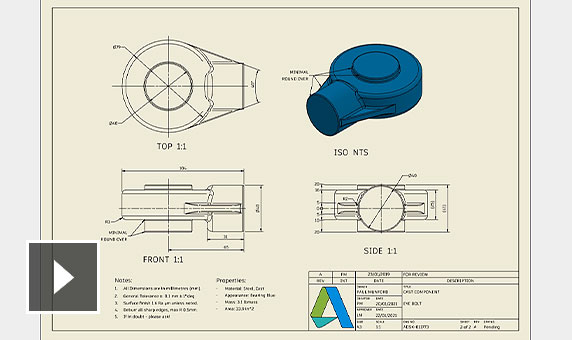 Video: Repurpose items from your 3D model in 2D drawing views for view orientation, annotations and lighting styles