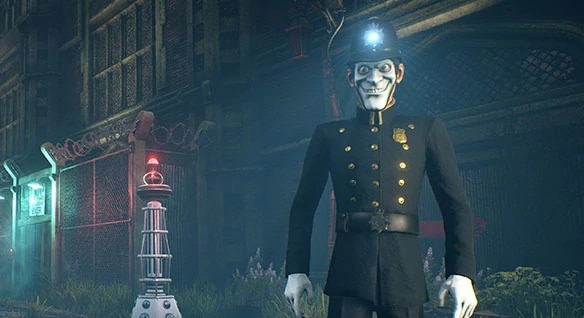 "Still shot of ""wellies"" policeman from action/adventure game We Happy Few"