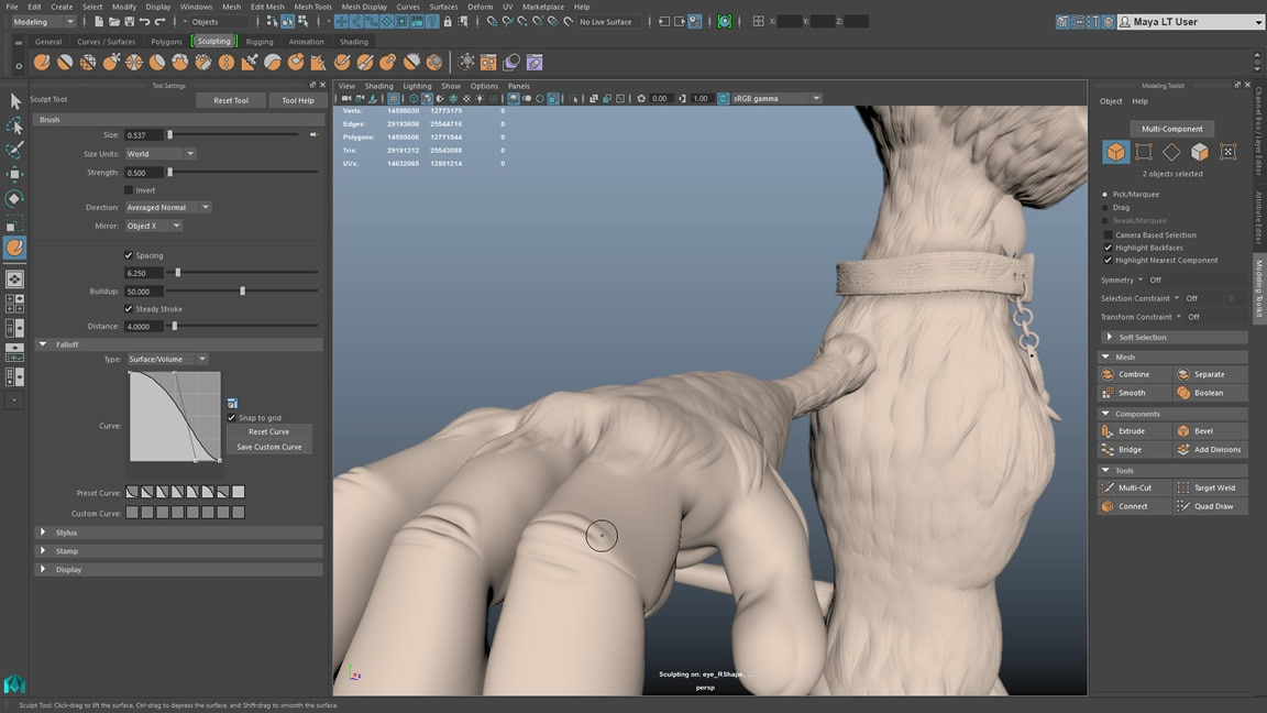 Brush-based game modelling sculpting tools
