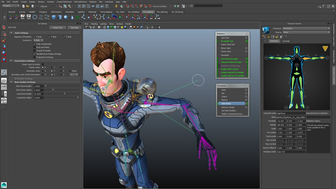 Quickly set up characters for animation