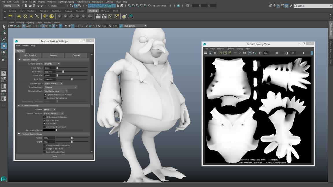 Maya LT now offers Turtle baking tools