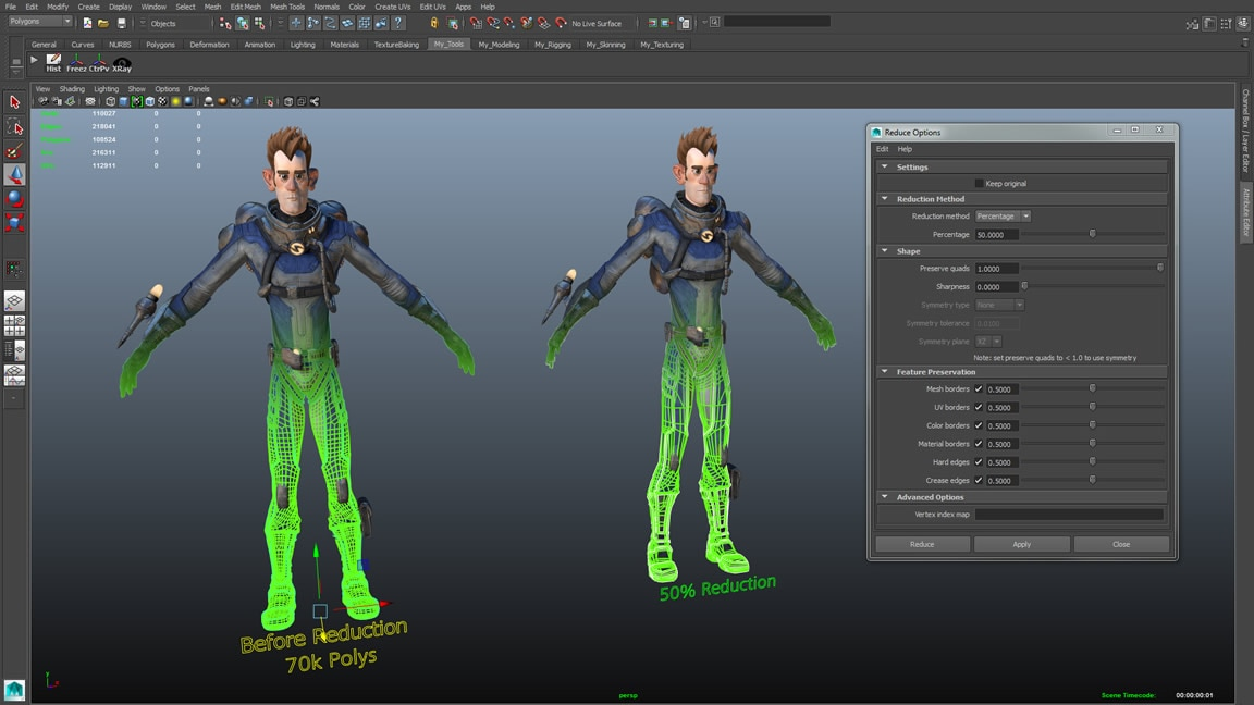 Create high-res character and environment models in Maya LT