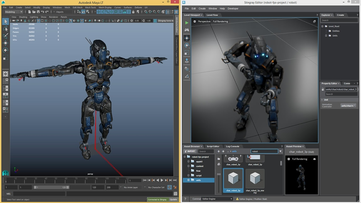 The Stingray 3D game engine is now available with Maya LT subscription
