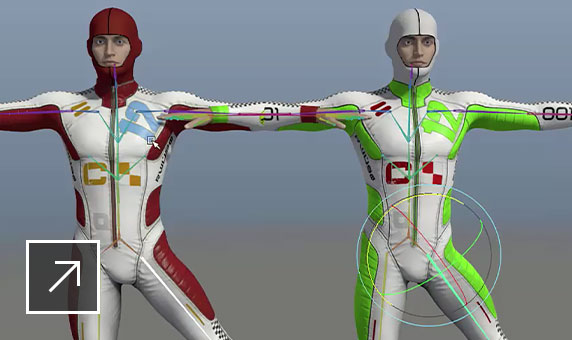 User interface in Maya featuring an animated rendering of 2 men in body suits, with arms stretched out and one leg kicked out