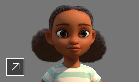 Rendering of an animated cartoon African American girl with 2 puffy pigtails and a blue-and-white striped T-shirt