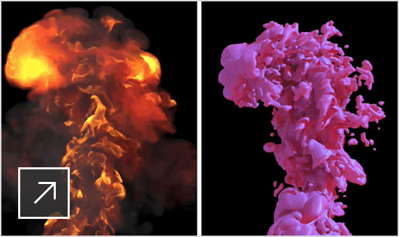 2 images side by side with an explosion effect on the left and the same explosion but with a different, pink liquid effect on the right