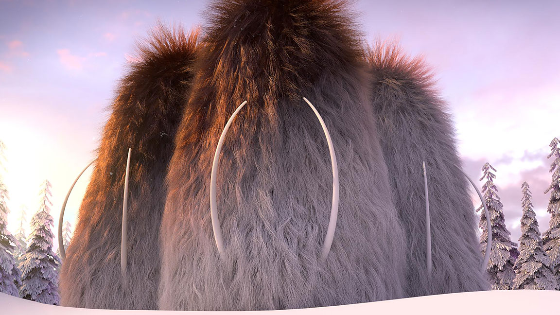 3 woolly mammoths with tusks sticking out, standing in a snow-covered pine forest beneath a blue sky with purple and pink tones