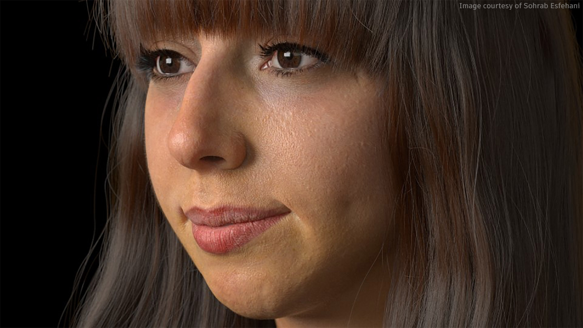 Highly realistic rendering of a young brown-haired woman with fringe and brown eyes