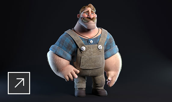3D cartoon character of a burly man with dark blond mustache, wearing a blue-and-black plaid shirt and overalls