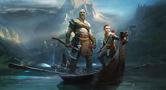 Two warriors—one adult, one teenaged—standing in a small wooden boat on a river with mountains and woodland in the background