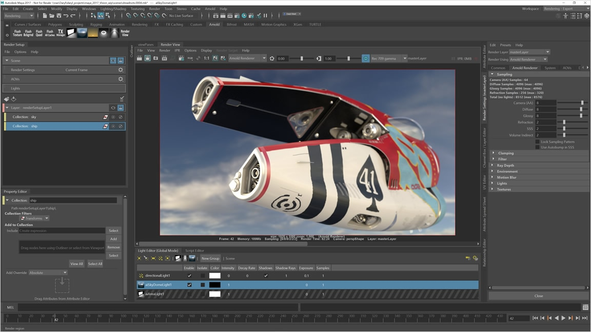 Use the integrated Arnold renderer to help solve complex rendering problems.