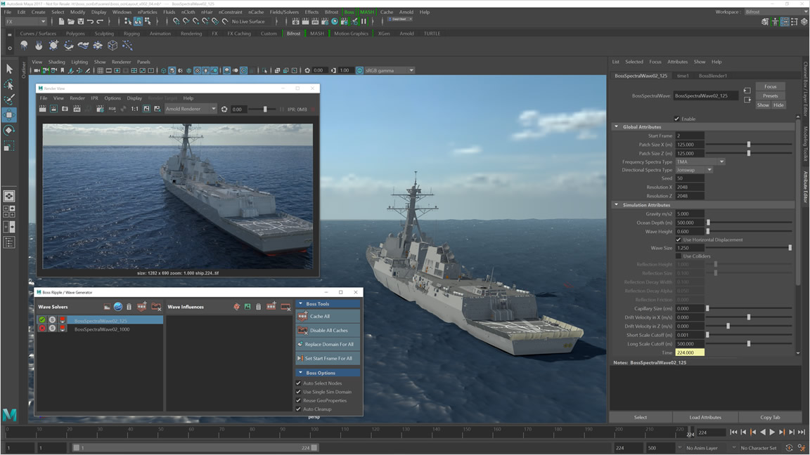 Create realistic ocean surfaces with waves, ripples, and wakes with the Bifrost Ocean Simulation System