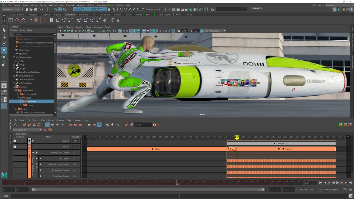 The Time Editor is a nondestructive, clip-based, nonlinear editor for editing animation at a high level