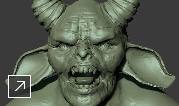 3D sculpted model of a horned creature