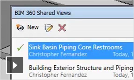 Os usuários conectados a um projeto do BIM 360 Glue podem compartilhar as vistas resultantes de sua análise e da atividade de revisão.