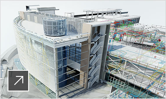 Rendered image showing design details of a railway station using building information modeling in Navisworks