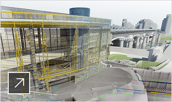 Rendered image showing design details of a railway station using building information modeling in Navisworks.