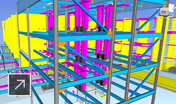 3D color-coded, coordinated model of the structural framing of a residence hall building