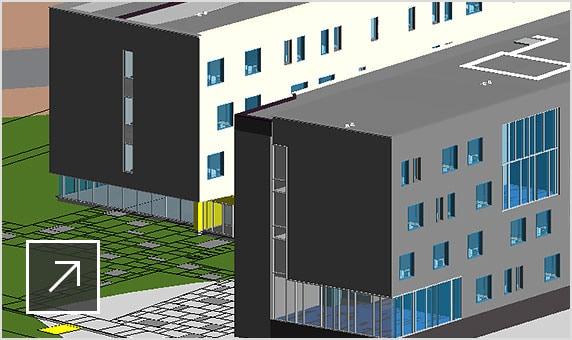 3D model of a residence hall building showing co-ordination model module in Navisworks