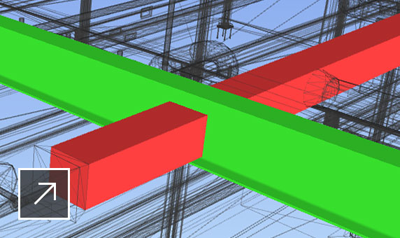 3D building model in Navisworks showing a clash between two color-coded beams.