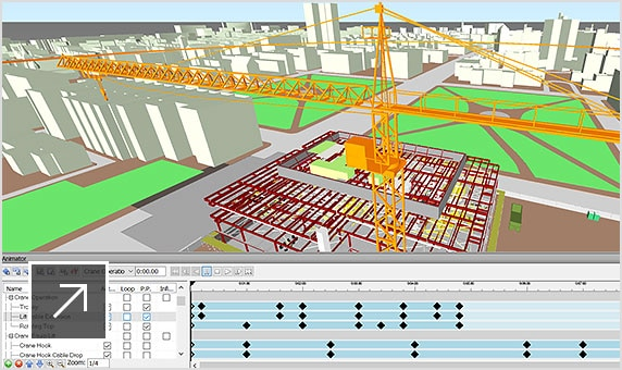 4D simulated model of a  construction site with a tower crane showing animation along with a project schedule