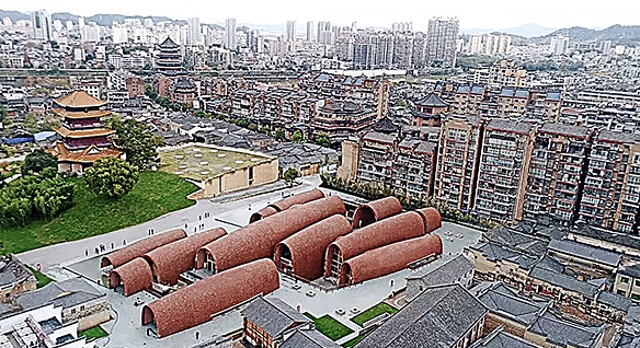 Aerial view of the Imperial Kiln museum in Jingdezhen, China, made up of rounded brick structures