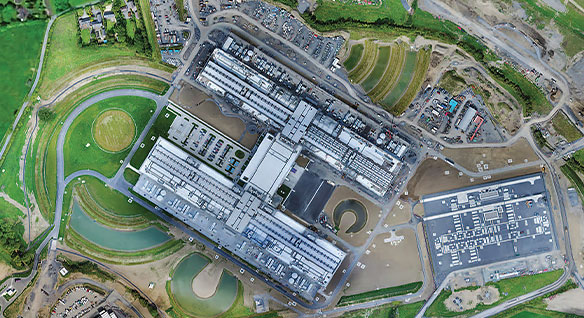 Aerial view of Facebook's data center in Ireland
