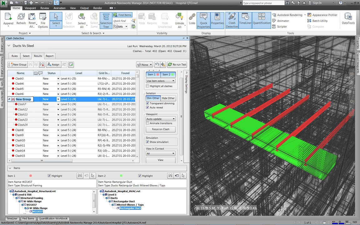 Dedicated clash detection tool in Navisworks