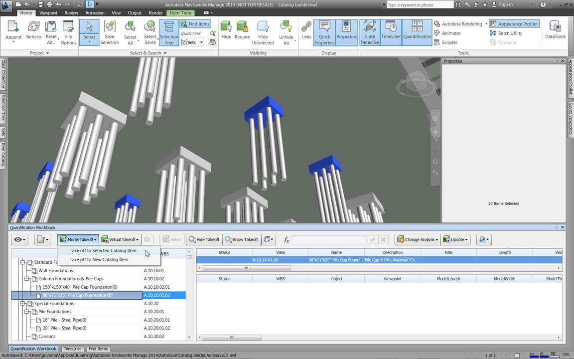 Navisworks offers smooth integration with quantification data