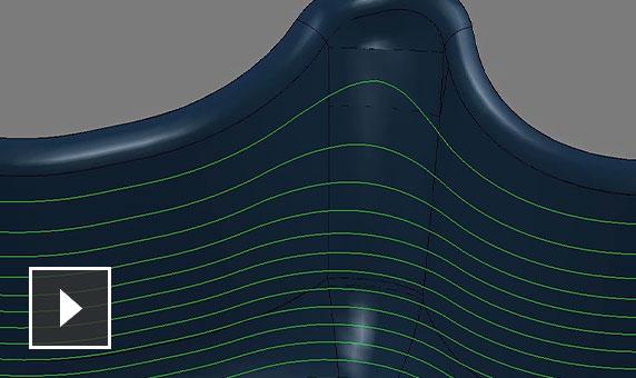 视频:改进了模型圆倒角处理,可与各种 3 轴精加工策略结合使用
