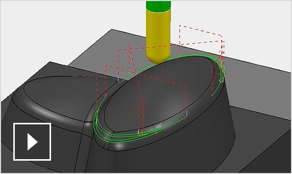 视频:陡峭和浅滩精加工有助于生成更优质刀具路径,可在降低碎片化风险的同时提供更卓越的曲面精加工