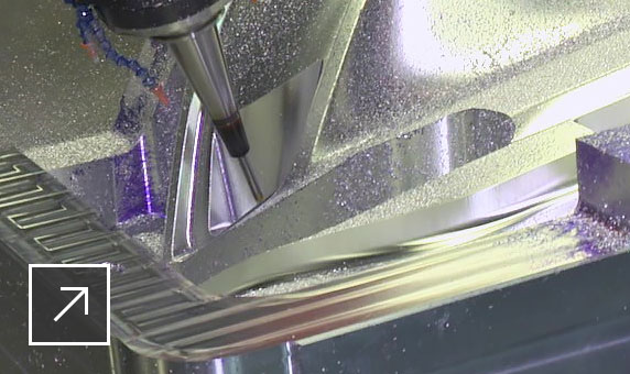 PowerMill 5-axis machining being used to manufacture a very large mold for the automotive industry
