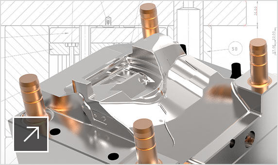 2 parts of a silver- and copper-colored 3D plastic injection mold tool sitting in front of a 2D schematic of the tool