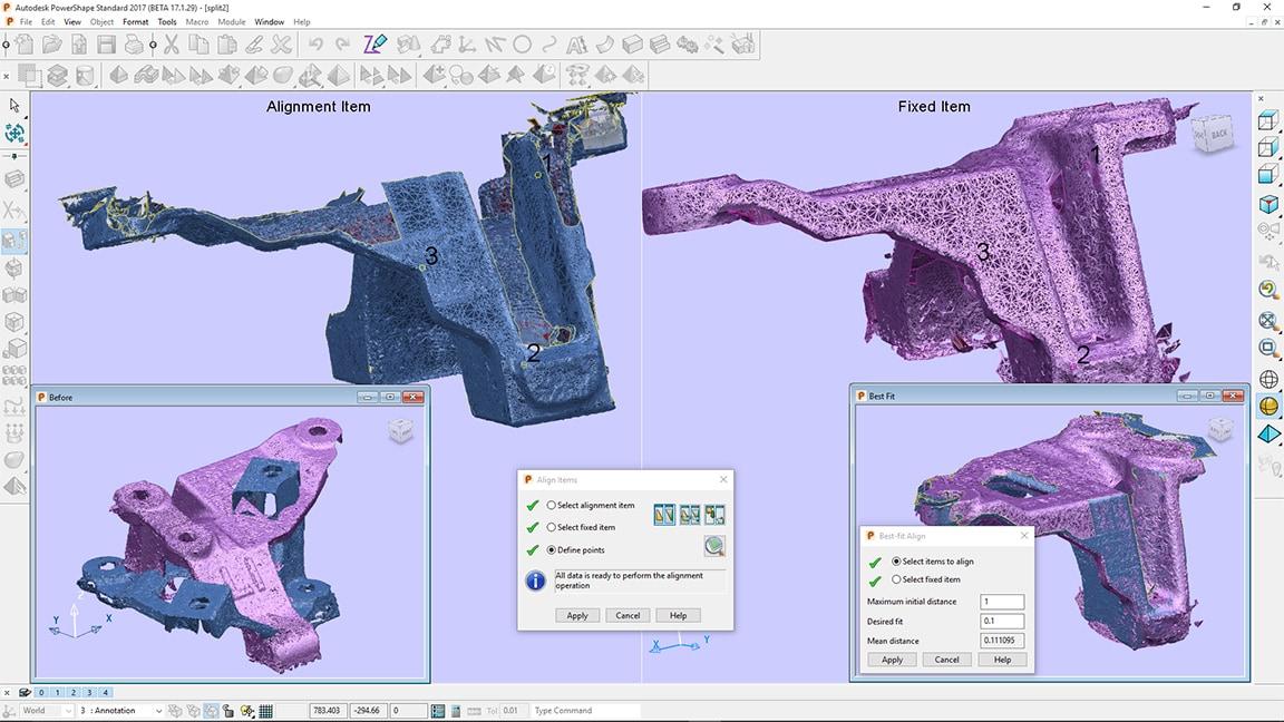 Allineate in modo preciso mesh di grandi dimensioni con il modello CAD
