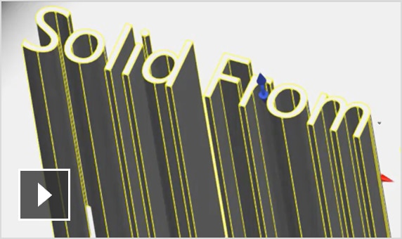 Video: Create nested 3D solid extrusions using any TrueType font; add text and logos to 3D solid models