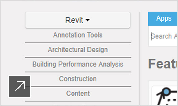 Autodesk App Store landing page with App Store icon selected in the Revit user interface