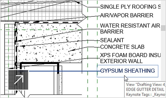 Drafting view of a community center overlaid with detailed view of a roof edge gutter with text notes