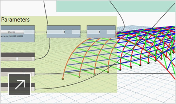 3D model of a curved structure overlaid with Dynamo panel in Revit