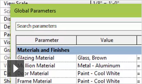 Video: Global parameters allow named constraints to be applied to distances and parameters within a project