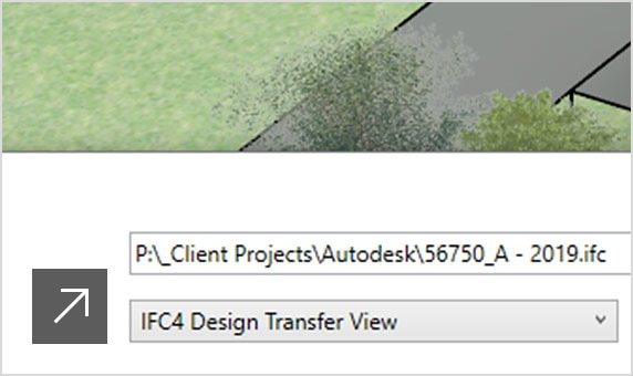 3D aerial view of a building overlaid with the Export IFC panel