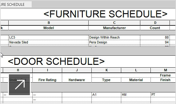 Schedule in Revit