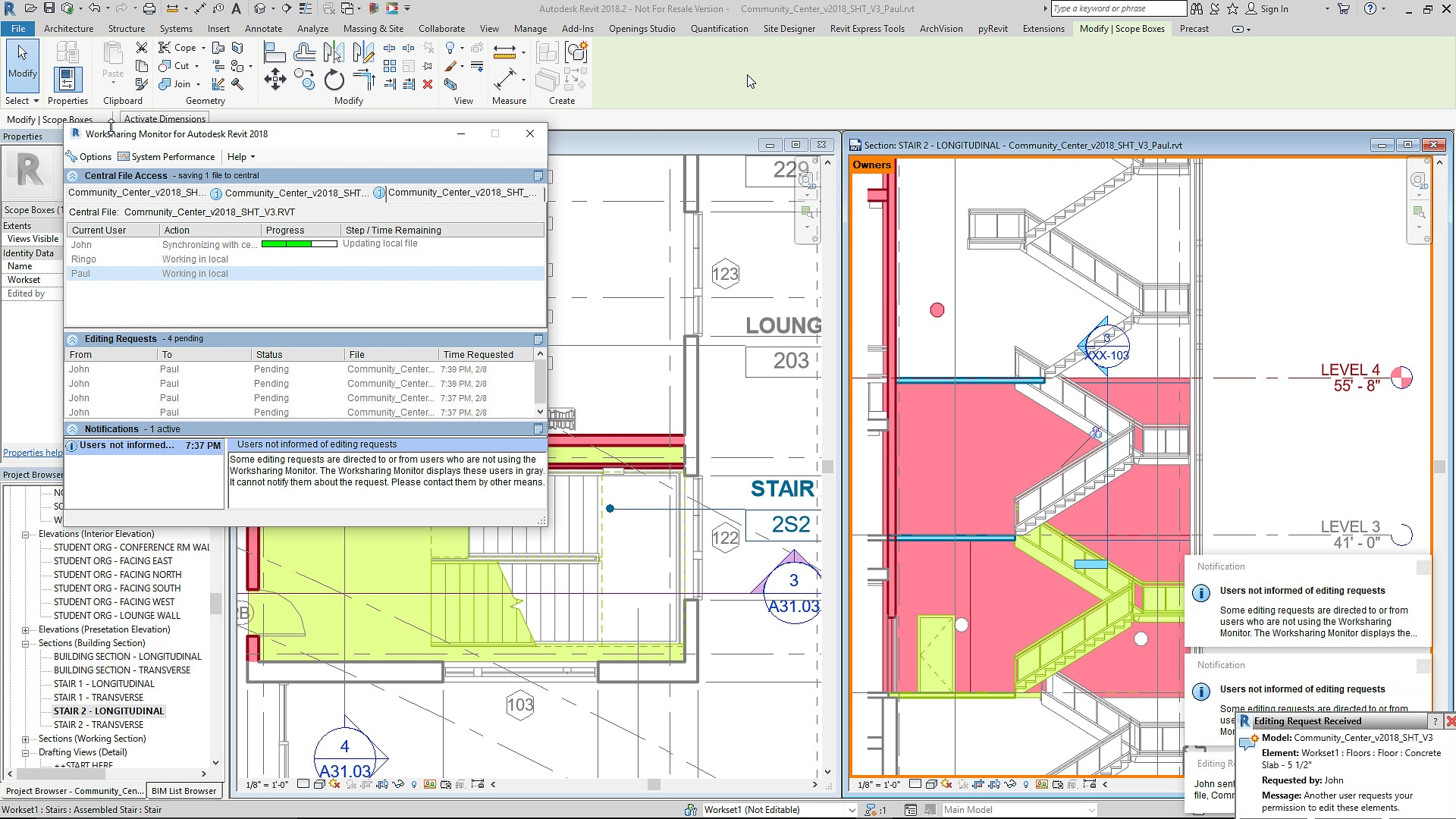 Bim Software Features Revit 2019 Autodesk Diagram Of A Network Architecture In Multistory Building Worksharing