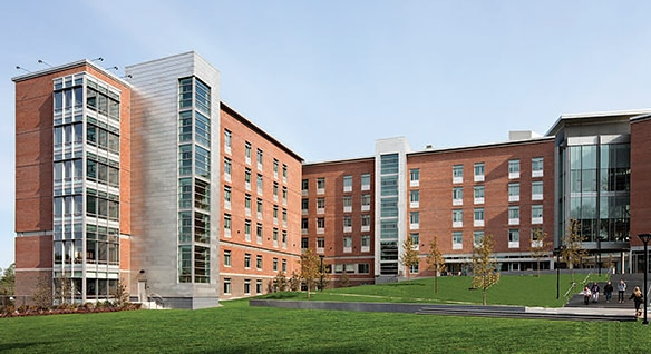 Gengivelse af North Hall i Framingham State University