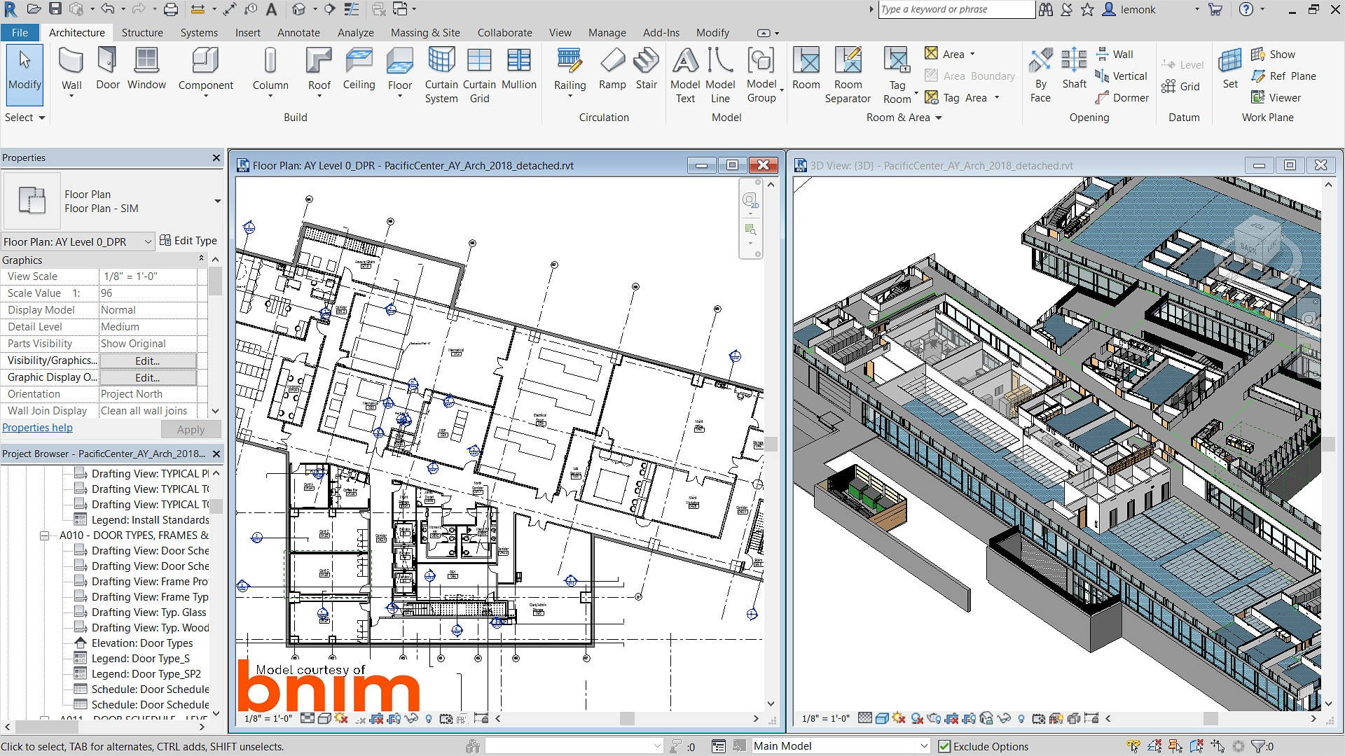 screen shot of person using Revit to turn blueprints into 3D models.